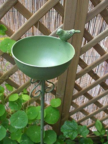 Vogeltränke auf Stab, Futterstelle, Gartenstab, Gartenstecker, Eisen, grün