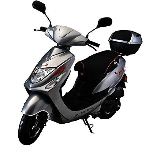 IVA Motorroller NEW JET 50 ccm inkl. Topcase, Silber 25 km/h