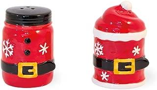 Boston International PRO19403 Ceramic Salt & Pepper Shaker Set, 2.25 x 3-inches Each, Santa Belt