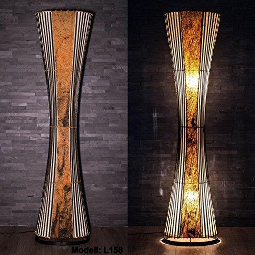 Asiatische Stehleuchte Designer Stehlampe Naturlampe Leuchten Bali Deko 150cm (L8)