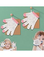手袋 爪噛み防止 ゆびしゃぶり 防止 指しゃぶり 矯正器 1ペア サッキング ストップ 赤ちゃん トップ 親指しゃぶり矯正 指しゃぶりは 通気性 歯がため 指しゃぶり拇指柱?正 透气性 固?手指?中毒者の手袋の子供の赤ちゃん噛むフィンガーの装具 安全で無味