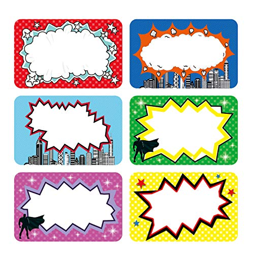 PARLAIM 180pcs Superhero Name Tag Stickers Name Tags for Kids Students and Teachers, Name Label Stickers Superhero Stickers for Home, School, Office Classroom Decoration