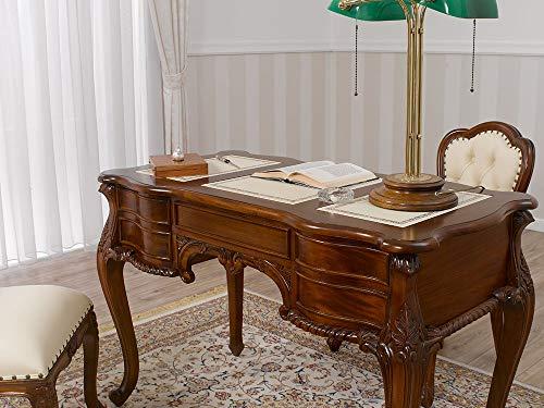 SIMONE GUARRACINO LUXURY DESIGN Schreibtisch Diana Chippendale Stil cm 160 walnuss Kunstleder Champagner