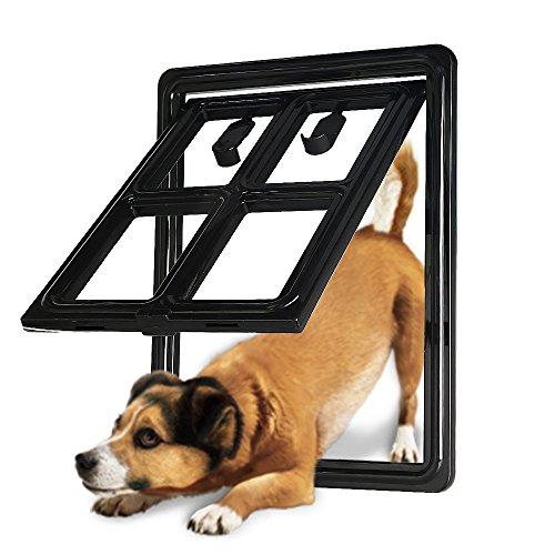 CEESC Porta Cane per Porta Schermo Scorrevole, Terza Versione aggiornata Serratura Automatica Porta dell'animale Domestico per Cani Cuccioli Gatti, 3 Colori 5 opzioni