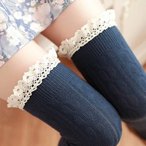 YAOLAN Calcetines Cordón de la Alta Rodilla del Tubo Largo Mujeres Calcetines, Tamaño: Un tamaño (Color : Blue)