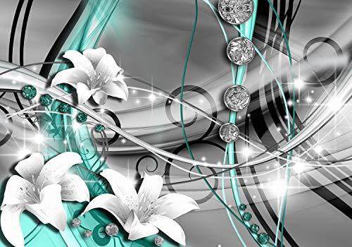 wandmotiv24 Fototapete Diamant Lilie grün, XL 350 x 245 cm - 7 Teile, Fototapeten, Wandbild, Motivtapeten, Vlies-Tapeten, Edelsteine, Abstrakt, Art M0532