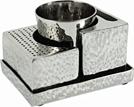 Havdalah Set for Braided Candle + Spice Box Holder - Yair Emanuel Judaica Nickel HAVDALAH Set Comes Apart Hammer Work (Bun...