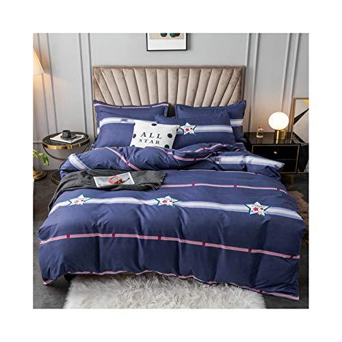 AMDXD Juego de 4 piezas de algodón de cachemira, estrellas azules oscuras, suave y cómodo (1 funda de edredón de 200 x 230 cm, 1 sábana de 230 x 230 cm, 2 fundas de almohada de 48 x 74 cm)