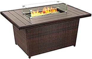Best Choice Products 52in 50,000 BTU Outdoor Wicker Patio Propane Gas Fire Pit Table w/Aluminum Tabletop, Glass Wind...