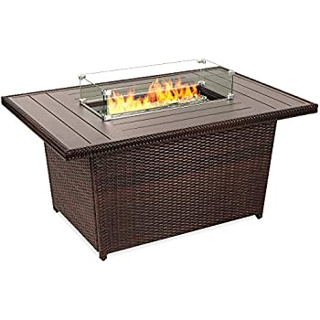 Best Choice Products 52in 50,000 BTU Outdoor Wicker Patio Propane Gas Fire Pit Table w/Aluminum Tabletop Glass Wind Guard Clear Glass Rocks Cover Slide Out Tank Holder and Lid - Brown