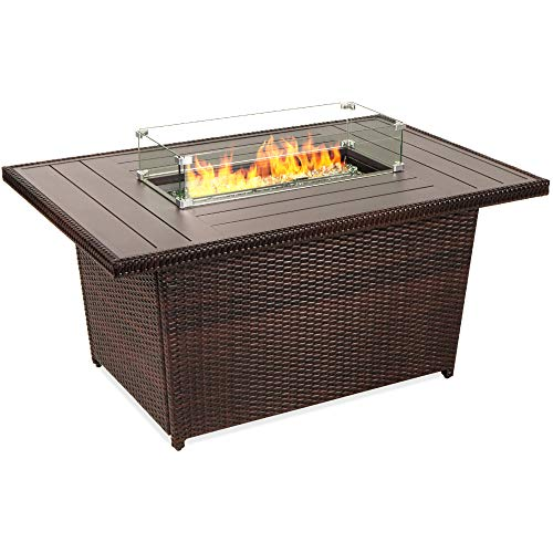 Best Choice Products 52-inch 50,000 BTU Outdoor Wicker Patio Propane Gas Fire Pit Table w/Aluminum Tabletop, Glass Wind Guard, Clear Glass Rocks, Cover, Slide Out Tank Holder, and Lid, Brown