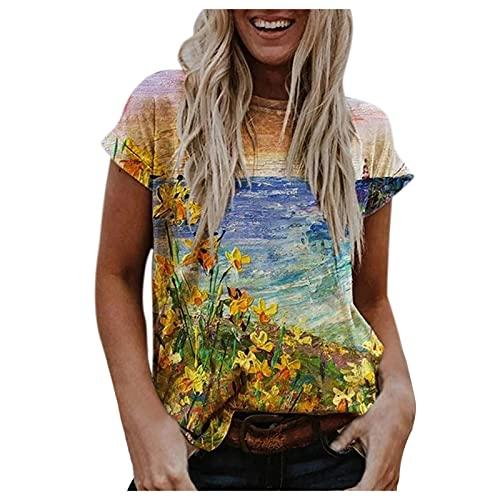 VCAOKF Camiseta de manga corta para mujer, sexy, verano, impresión 3D, diseño de paisaje de manga corta, informal, estampado de flores, cuello redondo, tallas S, M, L, XL, XXL azul XXL