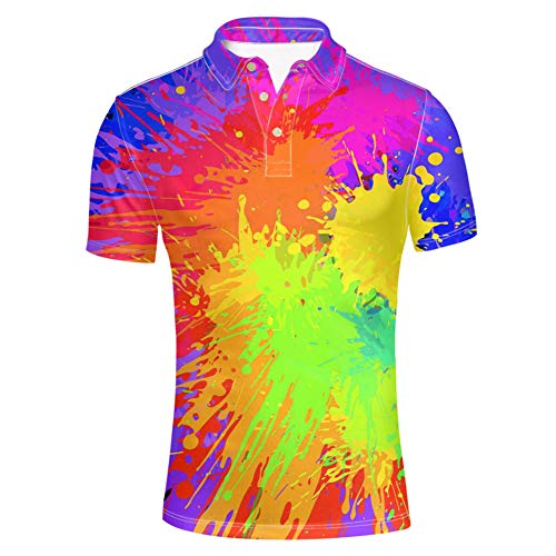 iLXHD Mens Button Down Shirt Summer Cool and Thin Breathable T-Shirt Dyed Gradient Cotton Shirt