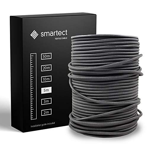 smartect Cable para lámparas de tela en color Negro - Cable textil trenzado de 5 Metro - 3 hilos (3 x 0,75 mm²) - Cable de luz con revestimiento textil