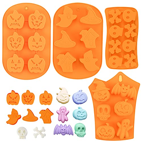 Lot de 4 Halloween Moulle Silicone Patisserie Moules...