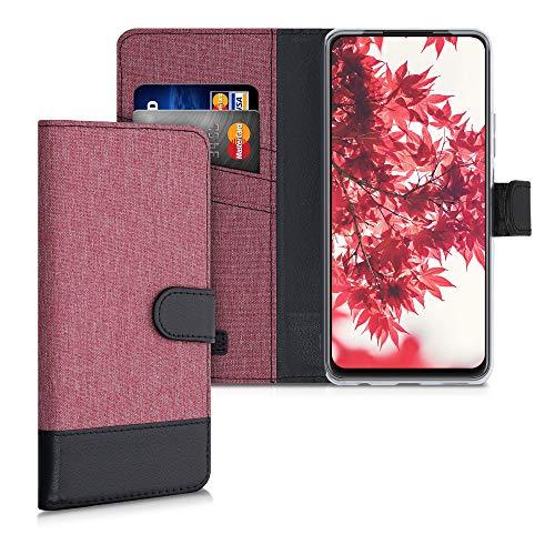 kwmobile Wallet Hülle kompatibel mit Huawei P Smart (2021) - Hülle mit Ständer - Handyhülle Kartenfächer Altrosa Schwarz