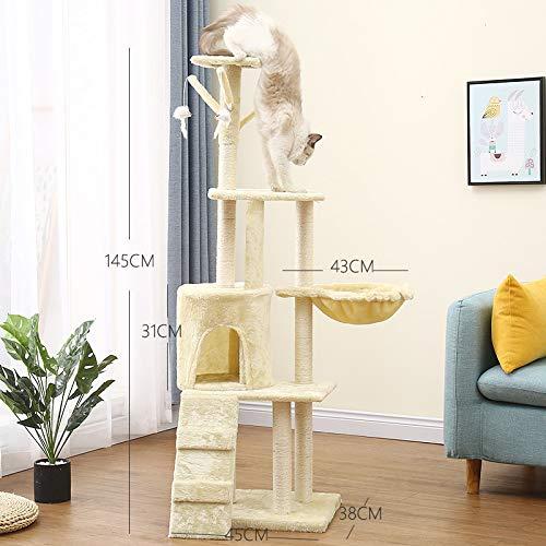 Newgreeny Massivholz Katze Klettergerüst Katze Kratzbaum Sisal Katze Kratzbrett Katzennest Baum Eine Katzenspielzeug 1085 Classic beige