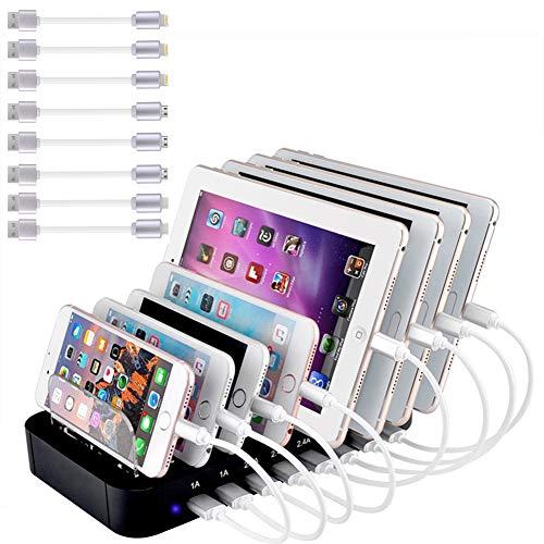 Evfun Estación de Carga USB, Base de Carga 8 Puertos Cargador Smartphone Tablets (Incluido 8 Cables de Carga)