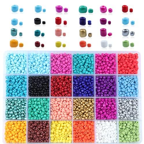 KASUP 12.000 cuentas de cristal de 3 mm, un kit con herramientas de manualidades y accesorios. Pulsera de la amistad para hacer collares y llaveros y materiales de manualidades