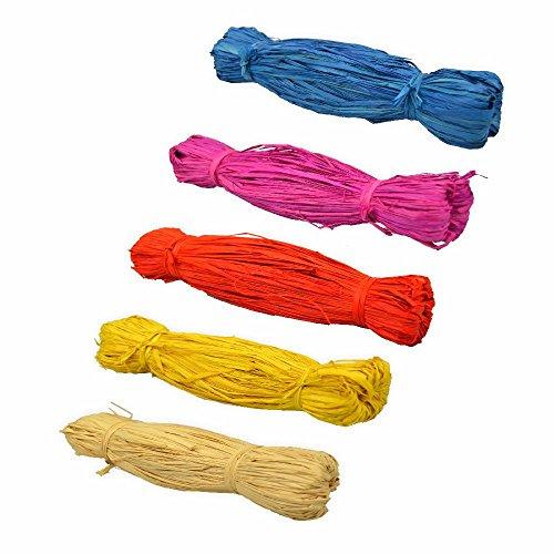 Creleo 790197 Bast Raffia 5er Set, gelb / rosa /rot/ blau / creme