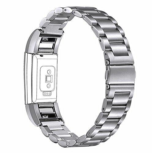 bandmax Armband für Fitbit Charge 2, Hochwertiger Edelstahl Gliederarmband Ersatzarmband Wrist Armband Uhrenarmband für Fitbit Charge 2