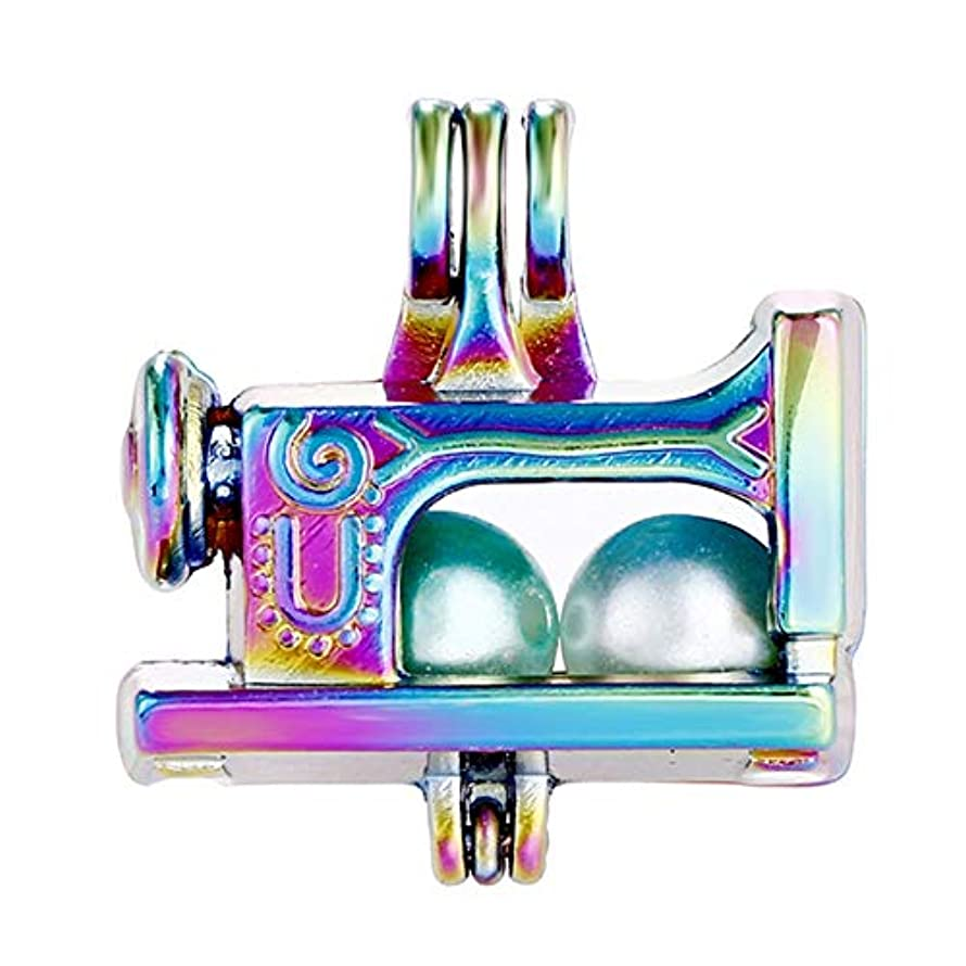 10pcs Rainbow Color Sewing Machine Pearl Cage Beads Cage Locket Pendant DIY Jewelry Making Accessories-for Oyster Pearls, Essential Oil Diffuser, Fun Gifts (Sewing Machine)