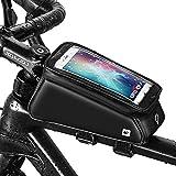 [page_title]-Grefay Fahrrad Rahmentaschen Wasserdicht Farhrradlenkertasche Oberrohrtasche Handytasche Geeignet für Smartphones/Innerhalb mit Kopfhörerloch, TPU Touchschirm von 6 Zoll (Mattschwarz)