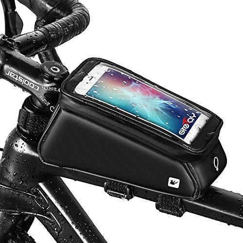 Grefay Fahrrad Rahmentaschen Wasserdicht Farhrradlenkertasche Oberrohrtasche Handytasche Geeignet für Smartphones/Innerhalb mit Kopfhörerloch, TPU Touchschirm von 6 Zoll (Mattschwarz)