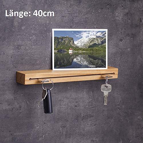 WOODS Schlüsselbrett Holz in 40cm - in Bayern handgefertigt I Schlüsselhalter Eiche - Moderne Schlüsselleiste als Board I Schlüssel-Aufhänger aus Eichenholz I Schlüsselbrett Holz mit Ablage