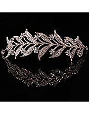 SimpleLife Tiara Fascia Fascia, Copricapo Medievale-Foglia Perla Simulata Fascia Capelli Tiara Corona Sposa Tiara Sposa Principessa Gioielli Donna Luxury Queen Decor