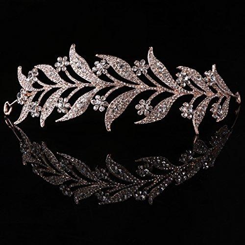 SimpleLife Leaf Tiara Headband, Headpiece Medieval– Leaf Simulado Pearl Diadema Cabello Tiara Corona Novia Tiara Princesa Joyería Mujer Decoración de Reina