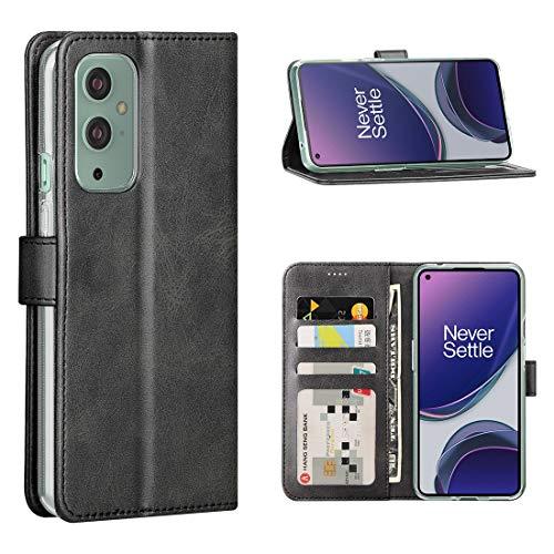 Cresee Kompatibel mit OnePlus 9 5G Hülle, PU Leder Handyhülle mit 3 Kartenfächer, Schutzhülle Hülle Tasche Magnetverschluss Flip Cover Stoßfest für OnePlus 9 (Schwarz)