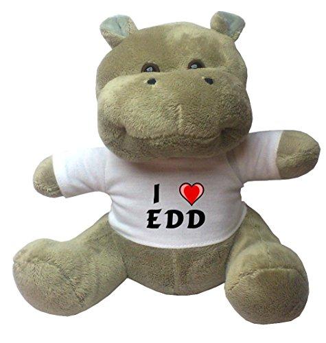 Nilpferd Plüschtier mit Ich liebe Edd T-Shirt (Vorname/Zuname/Spitzname)
