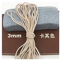 3millimeter / 5mmの高弾性ベルト枝と伸縮性ロープ多サイズのミシン衣服Diyアクセサリー生地の布DIY手芸用品 (Color : 3mmm round khaki, Length : 5y)