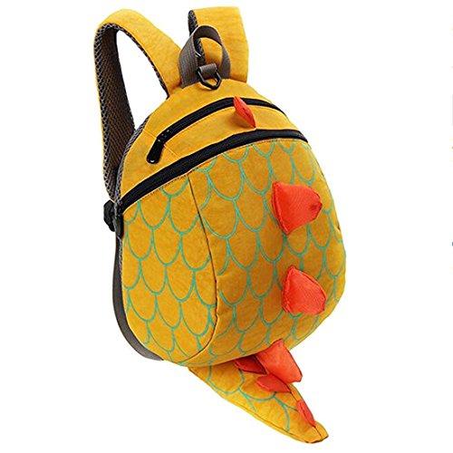 Kinderrucksack Dinosaurier Cartoon 3dKindertasche Nylon RucksackMädchenKlein Backpack Kinder Anti-verloren, 25 cm, 1-5 Jahre (Gelb)
