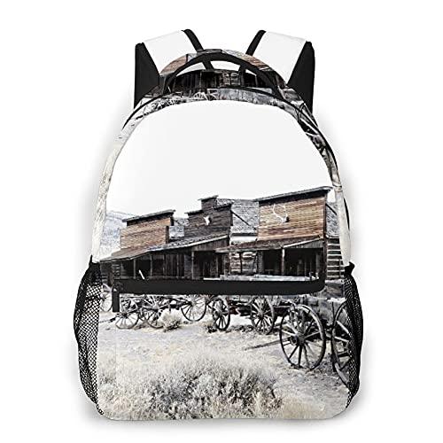 Mochila de viaje para computadora portátil,vagones de madera antiguos occidentales de 20 's In Town Ruedas antiguas de Wyoming Impresión de ilustraciones,mochila comercial antirrobo resistente al agua