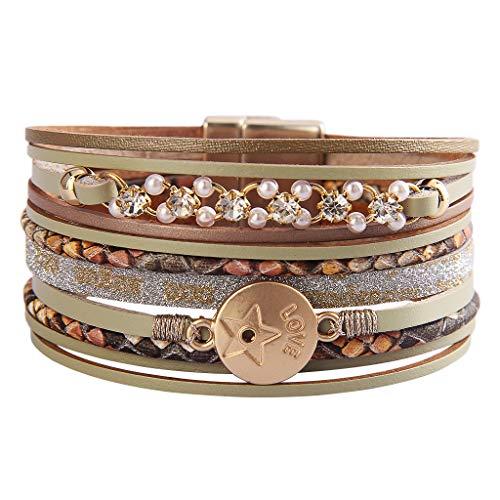 AZORA Pulsera de cuero para mujer, con perlas y monedas de metal, correa de piel, múltiples hebras, estilo bohemio, regalo para mamá, hija y niñas