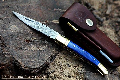 DKC Knives (102 6/18) DKC-62-BL Blue Prince Laguiole Damascus Steel Folding Pocket Knife 4