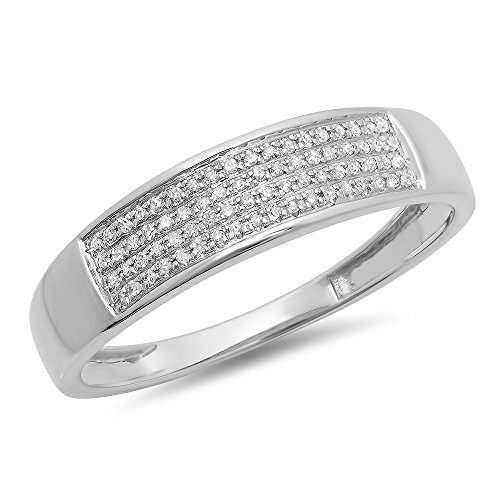 Dazzlingrock Collection 0.15 Carat (ctw) 10K Round Diamond Men's Hip Hop Wedding Band 1/6 CT, White Gold, Size 11.5