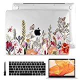 Batianda MacBook Air 13 Inch Case 2020 2019 2018 A2337 M1 A2179 A1932, Clear Hard Shell Cover with Keyboard Cover & Screen Protector for Apple MacBook Air 13 Retina & Touch ID (Flower and Butterfly)