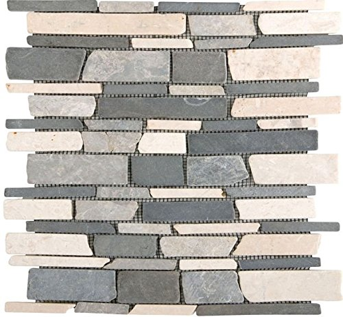 Natursteinmosaik Multiformat Schwarz Grau Beige