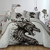 3 Pieces Bed in a Bag - Queen Size, 3D Mechanical Dinosa Pattern Bed Duvet Cover Set (1 Duvet Cover, 2 Pillow Shams),135x200cm