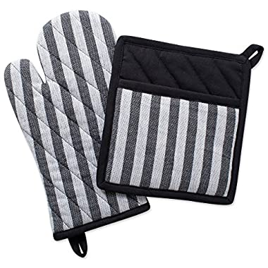 DII Cotton Heat Resistant Pot Holder and Oven Mitt Set Farmhouse Chic Geometric Design, Machine Washable for Every Home Kitchen, (Potholder 8x8.5, Ovenmitt 6.5x12), Stripe
