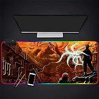 マウスパッドビッグアイズラージシックマウスパッドコンピューターラップトップRGBゲーミングマウスマット滑り止めラバーブラックデスクパッド90×40CMカラーD