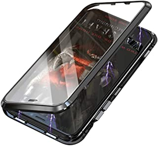 Magnetic Adsorption Case with Double Dual Side Tempered Glass Full Screen Front and Back Metal Frame Aluminium Housing Bumper Flip Cover [Support Wireless Charging] (For Samsung Galaxy S10, Black)