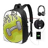 Schulrucksack-Taschen mit USB-Ladeanschluss und Kopfhöreranschluss, Stay Fit Circular Icon mit...