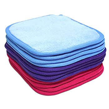 Reuseable Makeup Remover Pads 12 Pack Microfiber Face Cloth Facial Cleansing Towels Suitable for All Skin Types Face Cloths Multiple Colors