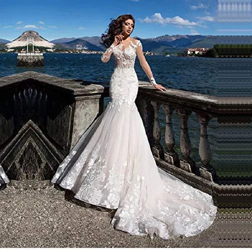 KUANGQIANWEI Hochzeitskleid aus Spitze Mermaid Brautkleider mit Langen Ärmeln Strand Brautkleid Prinzessin Spitze mit Schleife-Zug-Robe hochzeitskleid in weiß (Color : Ivory, US Size : 6)