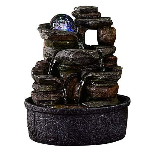 Zen Light – Zimmerbrunnen Nature Satya – Dekoration für den Innenbereich – originelle Geschenkidee – Beleuchtung Brunnen LED Mehrfarbig – leise Pumpe – L 20 x B 20 x H 25 cm braun Einheitsgröße