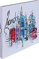 アートパネル 立体印刷 壁掛け 風景 1枚セット ファブリックパネル 幅30.5cmX高さ30.5cm 石膏ボード専用金具付き (No19 ロンドン)